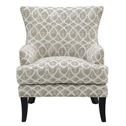 Viv Accent Chair in Tan with Graphic Upholstery And Nailhead Trim, by Artum Hill