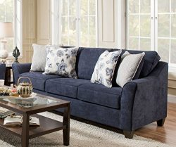 Simmons Upholstery 4330-04Q Prelude Navy Sleeper Sofa, Queen