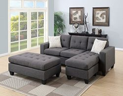 Poundex All in One Sectional with Ottoman and 2 Pillows in Gray Blue Grey
