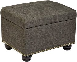 First Hill Callah Rectangular Fabric Storage Ottoman with Tufted Design – Granite Gray