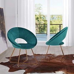 Mid-Century Retro Modern Velvet Upholstered Lounge Chair,Set of 2 Accent Chair for Living Room M ...