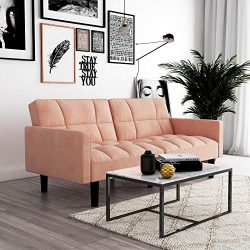 DHP Hayden Convertible Sofa Sleeper Futon with Arms – Pink Microfiber