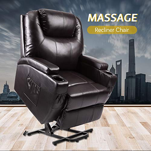 Vosson Recliner Power Lift Chair Pu Leather Recliner Massage Chair Electric Heated Chair for Eld ...