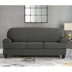 Sure Fit Designer Suede Convertible T-Cushion Sofa 3-Cushion Slipcover – Gray (SF44610)
