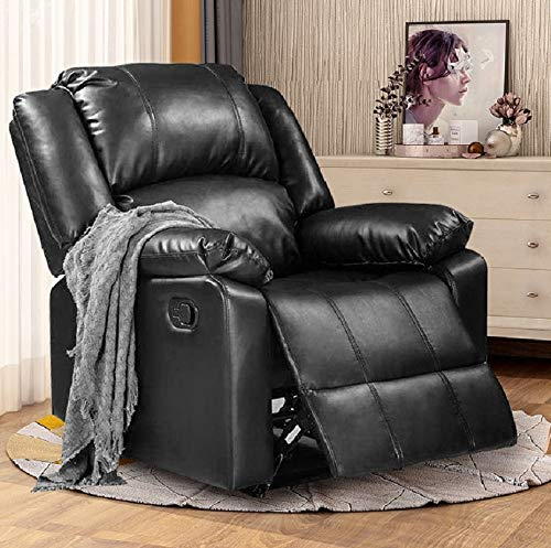 Thick Padded Recliner Chair PU Leather Living Room Chair Single Seat Lounge Sofa Reclining (Black)