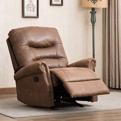 CANMOV Breathable Bonded Leather Rocker Recliner Chair, Classic and Retro Design 1 Seat Sofa Man ...