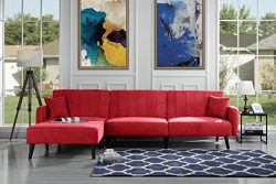 Casa Andrea Upholstered Mid Century Linen Fabric Futon Sectional Sofa, 112″ W inches (Red)