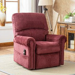 FLIEKS Heavy-Duty Power Lift Recliner Chair with Remote Controller Woven Velvet Premium Gel Infu ...