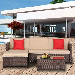 Outroad 5 Piece Wicker Sectional Sofa Set – All Weather Brown Striped Wicker Patio Furnitu ...