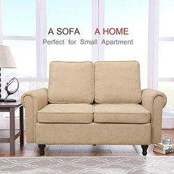 Best-Living Furniture Loveseat Couch Midcentury Modern Sofa 2 Seater Love Seat with Terylene Vel ...