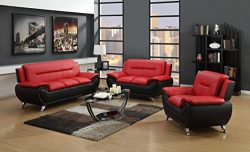 GTU Furniture Contemporary Bonded Leather Sofa & Loveseat Set/Sofa, Loveseat & Chair Set ...