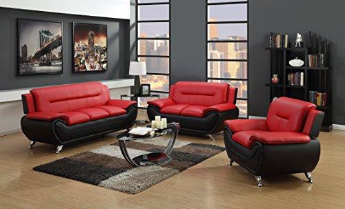 GTU Furniture Contemporary Bonded Leather Sofa & Loveseat Set/Sofa, Loveseat & Chair Set ...