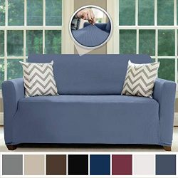 Sofa Shield Original Fitted 1 Piece Loveseat Slipcover, Soft, Stretch, Seat Width Up to 54″ ...