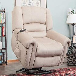 Heavy Duty Power Lift Recliner Sofa Chair Extra Large Living Room Chair Faux Leather with Remote ...