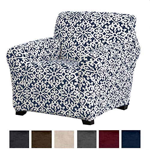 Great Bay Home Modern Velvet Plush Strapless Slipcover. Form Fit Stretch, Stylish Furniture Cove ...