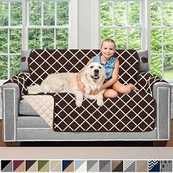 SOFA SHIELD Original Patent Pending Reversible Loveseat Slipcover, Dogs, 2″ Strap/Hook, Se ...
