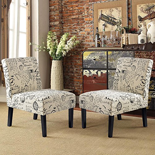 Harper&Bright Designs Armless Accent Chair Chair Set of 2, Upholstered Chair for Living Room ...