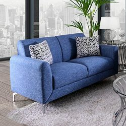 HOMES: Inside + Out IDF-6088-LV Beasley Loveseat, Blue