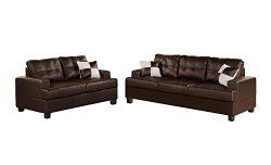 Poundex Bobkona Sherman Bonded Leather 2-Piece Sofa and Loveseat Set, Espresso