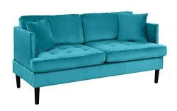 Mid Century Modern Velvet Loveseat Sofa with Tufted Seats (Blue)