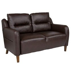 Flash Furniture Newton Hill Upholstered Bustle Back Loveseat in Brown Leather