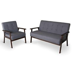 Mid-Century Retro Modern Living Room Sofa Set with Loveseat and Seating Sofa Chair, Couch and Lo ...