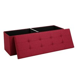 SONGMICS Storage Ottoman Bench, Chest with Lid, Padded and Foldable Seat with Metal Support, Bed ...