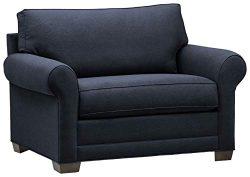 Stone & Beam Kristin Chair-and-a-Half Upholstered Sleeper Sofa, 55.5″W, Navy