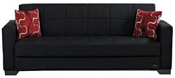 BEYAN SB 2019 Black Vermont Modern Chenille Fabric Upholstered Convertible Sofa Bed with Storage ...