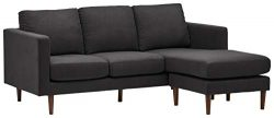 Rivet Revolve Mid-Century Modern Reversible Chaise Sectional Sofa Couch, 80″W, Storm Grey