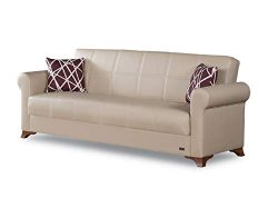 BEYAN Yonkers Collection Modern Convertible Folding Sofa Bed with Storage Space Includes 2 Pillo ...