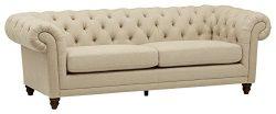 Stone & Beam Bradbury Chesterfield Tufted Sofa, 93″W, Hemp