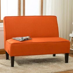 YongQiang Living Room Settee Loveseat Sofa Cushioned Upholstered Linen Casual Couch with Wood Le ...