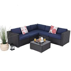 PHI VILLA Outdoor Rattan Sectional Sofa- Patio Wicker Furniture Set (6-Piece 1)
