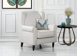 DIVANO ROMA FURNITURE Classic Scroll Arm Faux Leather Accent Chair, Living Room Armchair (White)