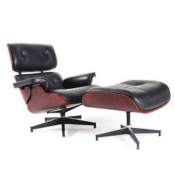Lounge Chair and Ottoman, Mid Century Modern Classic Design, Natural Leather, High-Density Wood  ...