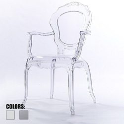 2xhome Clear Modern Ghost Chair Armchair Vanity Dining Room Lounge Crystal Molded Mirrored Furni ...