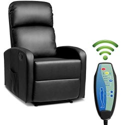 Giantex Massage Recliner Chair w/Remote Control, 5 Vibration Modes, Adjustable Footrest Design,  ...