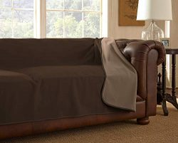 Mambe 100% Waterproof Furniture Cover for Pets and People (Sofa 70″x 120″, Chocolate ...
