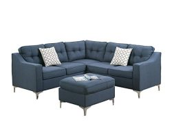 Poundex F6999 Bobkona Navy Effie Sectional Set with Ottoman