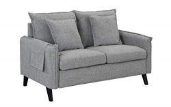 Modern Living Room Linen Fabric Loveseat Sofa (Light Grey)