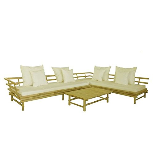 Zew INC SET-101 SET-010 Bamboo Sectional Sofa with Coffee Table, White