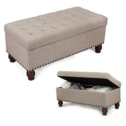DecentHome Rectangular Storage Ottoman Bench Footstool with Solid Wood Legs (Beige)