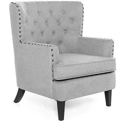 Best Choice Products Modern Tufted Wingback Accent Chair Living Room Furniture Decoration for Ho ...