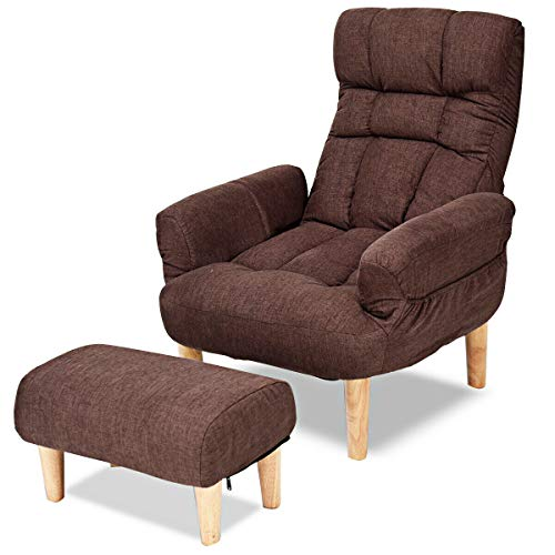 Giantex Lazy Sofa Chair w/Footstool, Backrest Headrest Adjustable in 10 Positions Total, Cute Wo ...