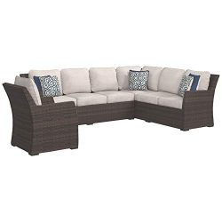 Ashley Furniture Signature Design – Salceda Outdoor 3-Piece Sectional Set – Sofa Sec ...