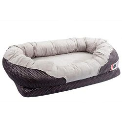 BarksBar Large Gray Orthopedic Dog Bed – 40 x 30 inches – Snuggly Sleeper with Solid ...