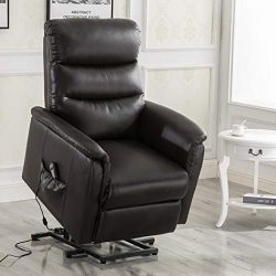 Esright Electric Recliner Power Lift Chair Wall Hugger PU Leather Remote Control (No Heat& M ...