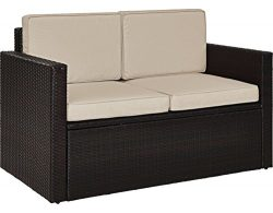 Crosley Furniture KO70092BR-SA Palm Harbor Outdoor Wicker Loveseat with Sand Cushions, Brown