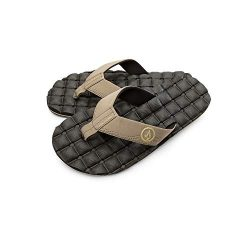 Volcom Men's Recliner FLIP Flop Sandal, Khaki, 6 B US